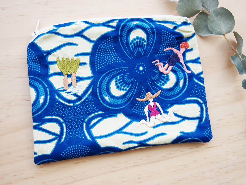 African fabric Swimmers sea pouch