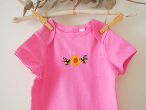 Bee & Sunflower Pink bodysuit