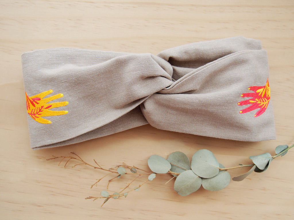 Fluo and linen headband