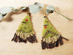 Green Triangle Beaded Earrings