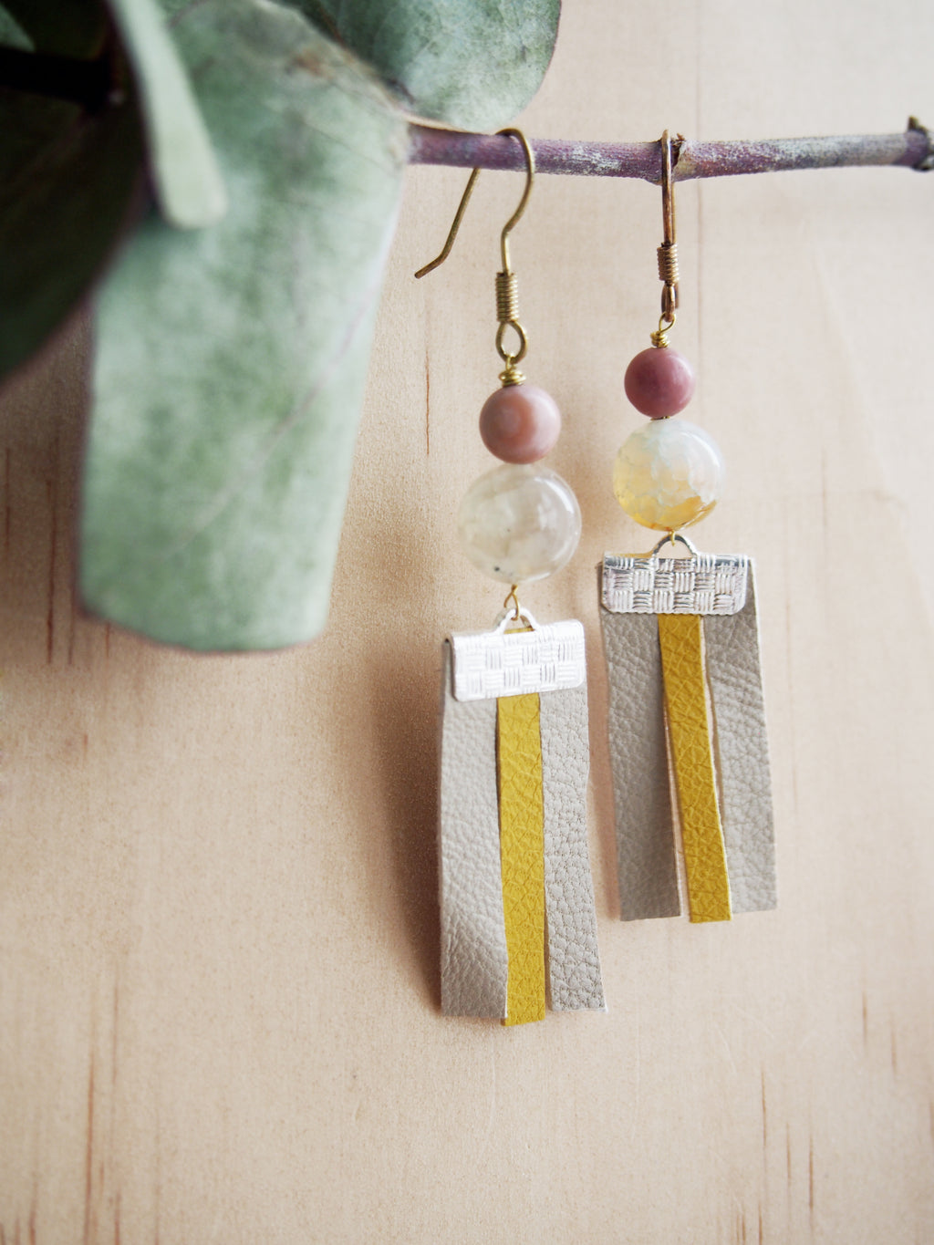 Long Leather & Gemstone Earrings