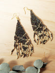 Long Petrol Beaded Earrings