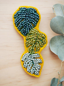 Big Monstera Beaded Brooch