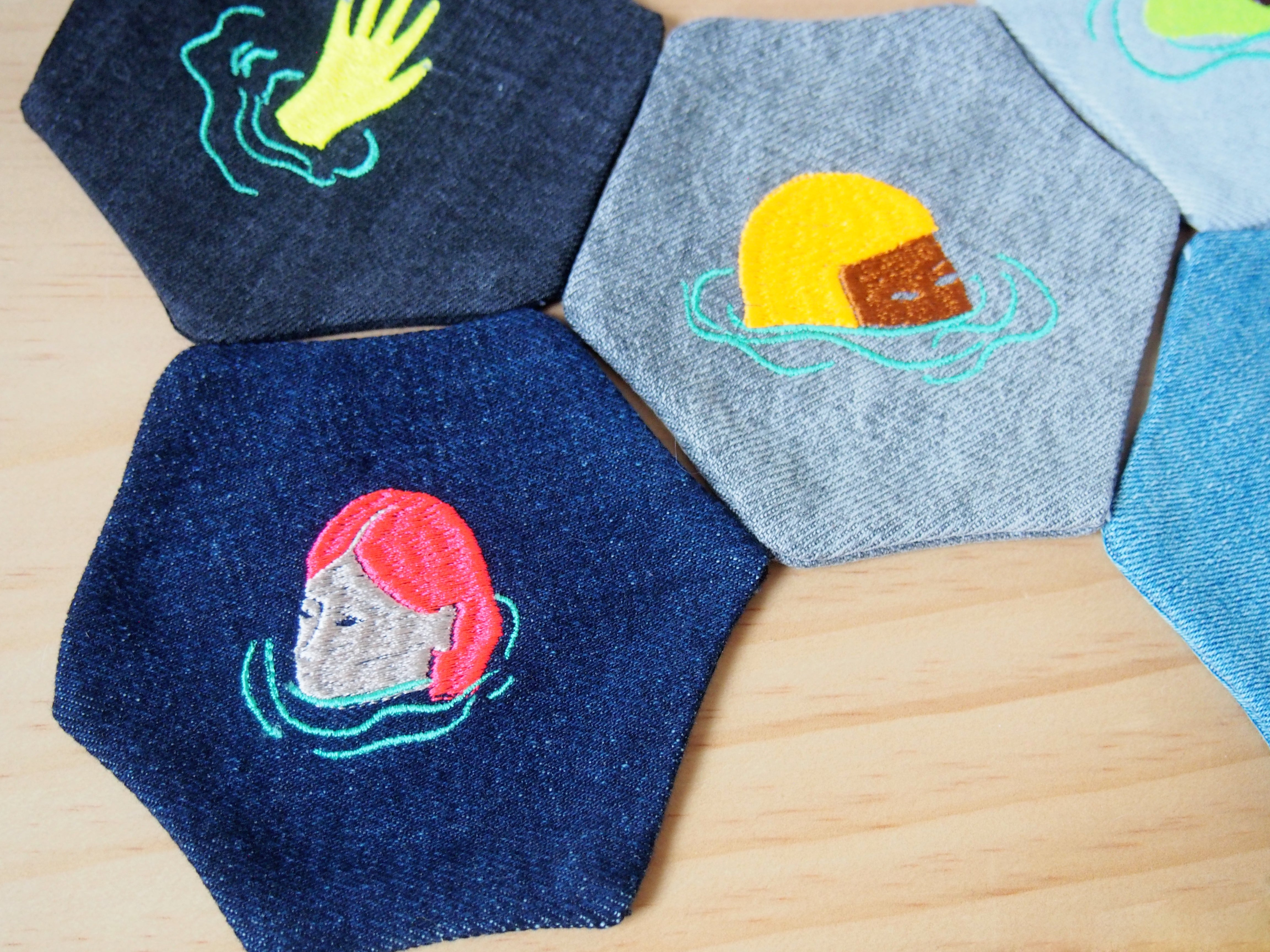 Upcycled jeans Swimmer Coasters set