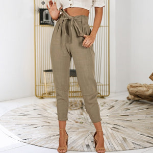 Bow tie up sash harem women casual pants