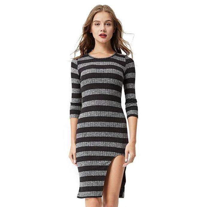 Women Casual Striped Sweater Bodycon Dress