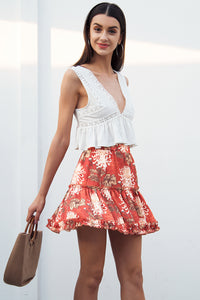 Women Boho floral print mini skirt