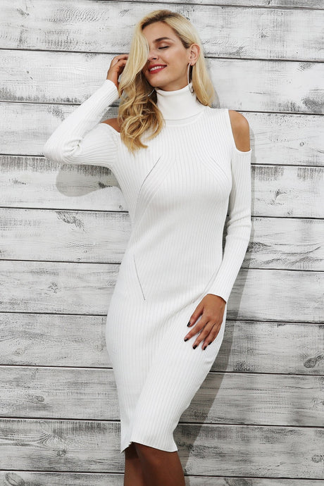 Cold shoulder turtleneck knitting women dress women