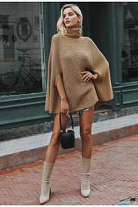Knitted turtleneck cloak women sweater