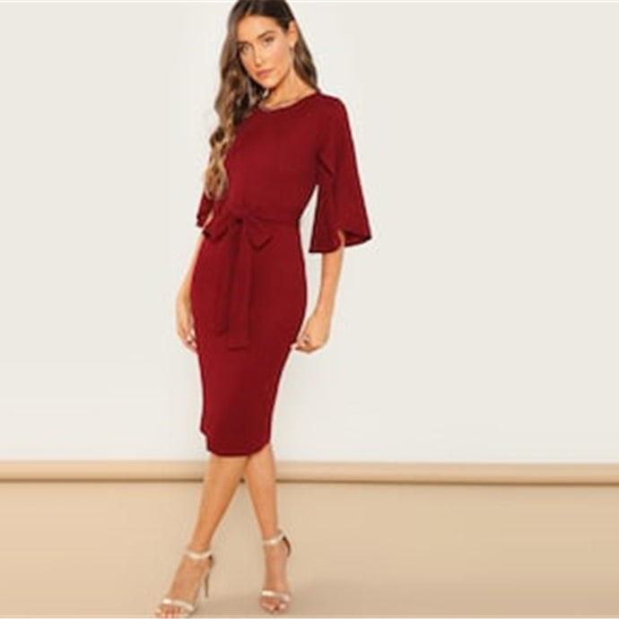 Casual Round Neck Flutter Sleeve Self Belted Women Dresses