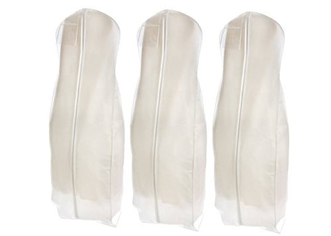 Bags For Less Wedding Gown Travel & Storage Garment Bag   Soft, Breathable, Durable, Rip & Water Resistant Material  Extra Large Size With 10 Gusset  Clear Vinyl Pouch