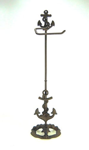 Standing Cast Iron Anchor Toilet Paper Holder Nautical 28  Tall