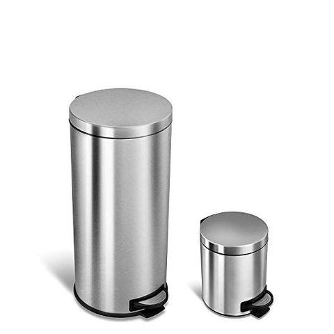 Ninestars Amz-Sot-30-1/5-1 Step-On Trash Can Combo Set 8 Gal 30L &Amp; 1.2 Gal 5L Base (Round, Stainless Steel Lid)