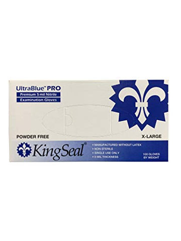 Kingseal Ultrablue Pro Indigo Blue Nitrile Medical Grade Exam Gloves, Latex Free, 5 Mil, Textured, Size Extra Large - 1 Box Of 100 Gloves