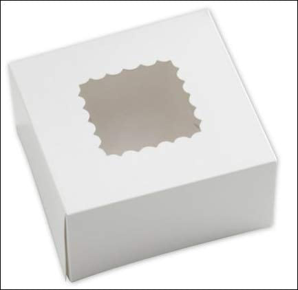 White Windowed Bakery Boxes, 1 Set Of 25, 6 X 6 X 3