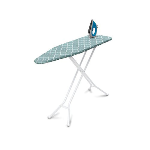 Homz Premium 4-Leg Steel Top Ironing Board, Foam Pad With Blue Lattice Cover