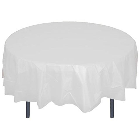 84 Round White Plastic Tablecloth 12 Pieces Party Decor