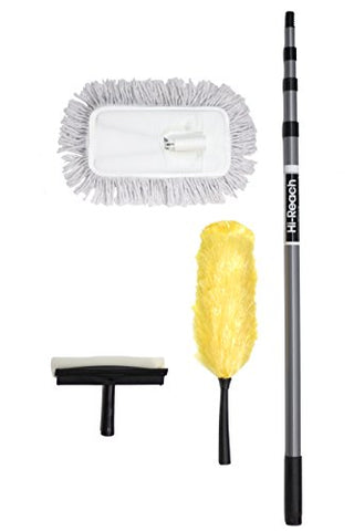 High Reach Cleaning Kit With 10-Foot Extension Pole- Cleaning Kit For High Ceilings, Windows, Walls And Furniture, Fan And Ceiling Duster, Window Squeegee, Extender Duster, Telescopic Duster, Telescoping Window Washer