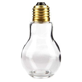 4 1/4 Glass Light Bulb Jar With Gold Lid