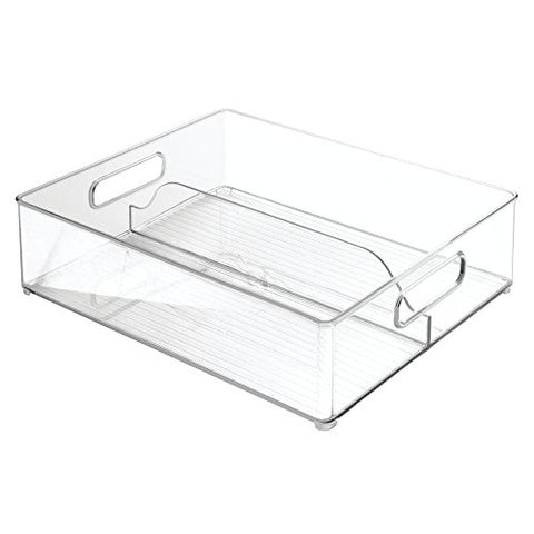 Interdesign Refrigerator And Freezer Divided Storage Organizer Bins For Kitchen, 12 X 4 X 14.5, Clear