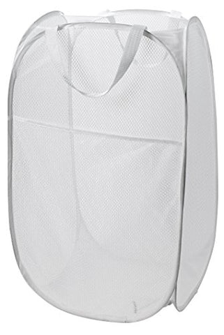 Mesh Pop-Up Laundry Hamper, White - 14 X 24 - Easy To Open And Folds Flat For Storage. Hampers Mesh Material Helps Eliminate Laundry Odors And Moisture. Great Laundry Hamper For College Dorm.