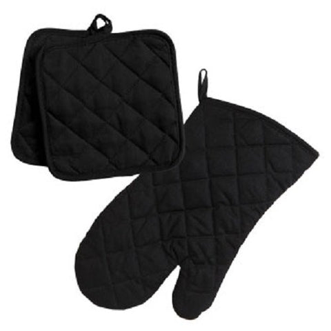 Home Collection Black 3Pc Set Oven Mitt & Potholders