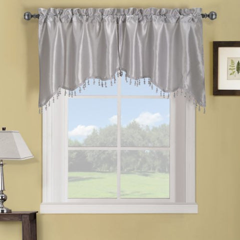 Elegance Solid Rod Pocket Window Treatment- Panels, Valances And Scarves. Available In Various Colors And Sizes To Enhance Your Home Dcor. 70X17 In Each Swag Valance , Silver