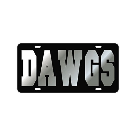Georgia Bullodgs Mirror Laser License Plate Tag Black Background, Silver - Dawgs