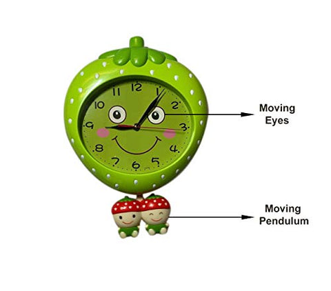 Kids Room Clock Strawberry Shape With Moving Eyes Non Ticking Silent Decorative Red And Green Strawberry Kids Wall Clock For Kids Room Playroom Kids Gift For Home Or School