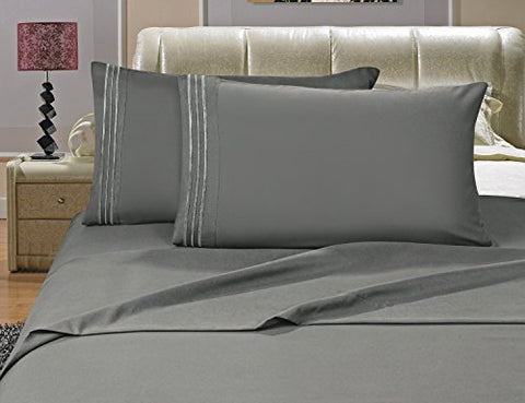 #1 Best Seller Luxury Bed Sheets Set On Amazon! - Highest Quality 1500 Thread Count Egyptian Quality Wrinkle, Fade, Stain Resistant - Hypoallergenic - 4 Piece Sheet Set, Queen , Gray