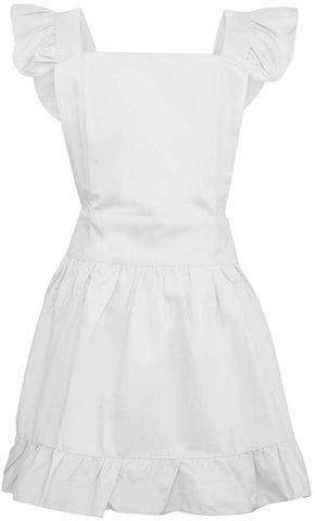 Aspire Cotton Retro Adjustable Ruffle Aprons Kitchen Cooking Adults & Kids Maid Costume-White-Kid