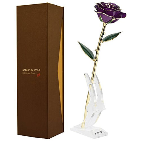 Purple Gold Rose, Defaith 24K Gold Trimmed Long Stem Real Rose With Moon-Shape Rose Stand. Last A Lifetime. Best Anniversary Gift.
