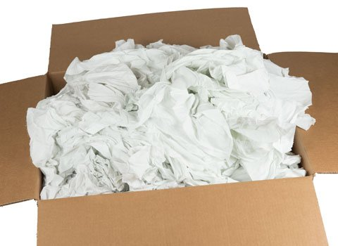 Raglady Recycled White Cotton Sheeting Rags - 24  X 24  - 40 Pounds In A Box