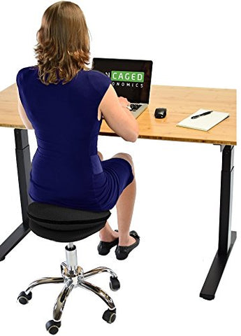 Uncaged Ergonomics Wobble Stool Air Rolling Adjustable Height Active Sitting Balance Ball Office, Standing, Stand Up Desk Chair With Wheels Swivel Stable Rocking Tilting (Black)