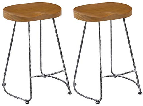 Btexpert 5086-2 Industrial 24  Antique Rebar Counter Bar Height Bistro Stools Saddle Wood Set Of 2, 24 Inch Black