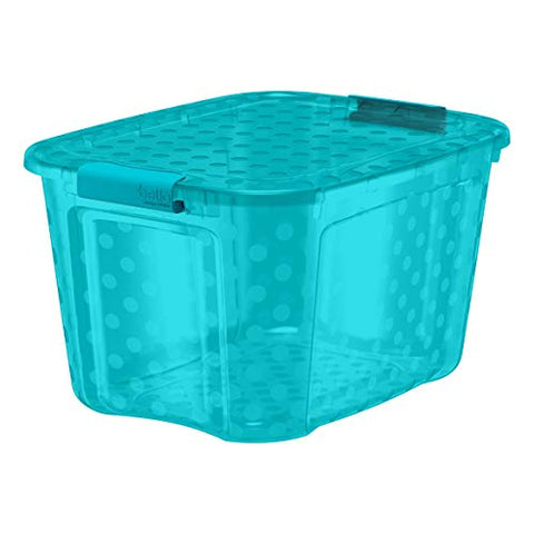 Bella Storage 40 Quart Locking Lid Plastic Storage With Decorative Polka Dots, Teal (Case Of 6)
