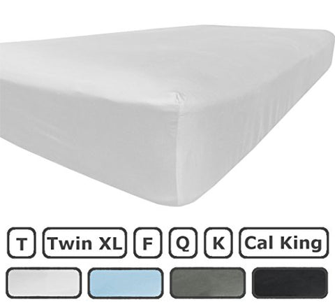 Twin Xl Fitted Sheet Only - 300 Thread Count 100% Egyptian Cotton - Flat Sheets Sold Separately For Set - 100% Satisfaction Guarantee (White)