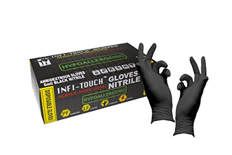 Heavy Duty Black Nitrile Gloves, Infi-Touch Hypoallergenic 6 Mill Thickness, Disposable Gloves, Powder Free, Non Sterile, Ambidextrous, Finger Tip Textured, Dispenser Size X-Large.