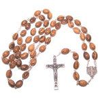 Olive Wood Rosary With Jerusalem Cross- Certificate Of Origin