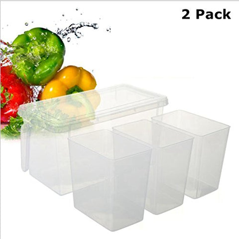 2Pk - 3 Compartment Plastic Food Container With Handled Bin Ice Cream Topping Dispenser Set Bpa Free