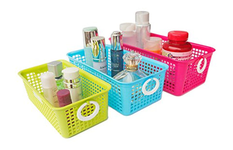 Honla Perforated Plastic Storage Baskets/Bins Organizer With Little Handles-Set Of 3-Hot Pink,Light Blue,Lime Green