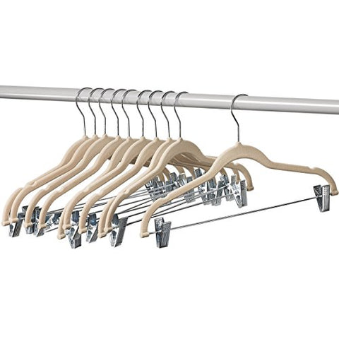 Home-It Clothes Hangers With Clips Ivory Velvet Hangers Use For Skirt Hangers Clothes Hanger Pants Hangers Ultra Thin No Slip