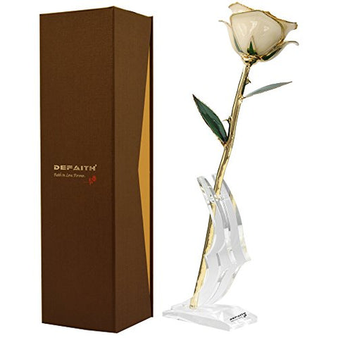 Ivory Gold Rose, Defaith 24K Gold Trimmed Long Stem Real Rose With Moon-Shape Rose Stand. Last A Lifetime. Best Anniversary Gift.