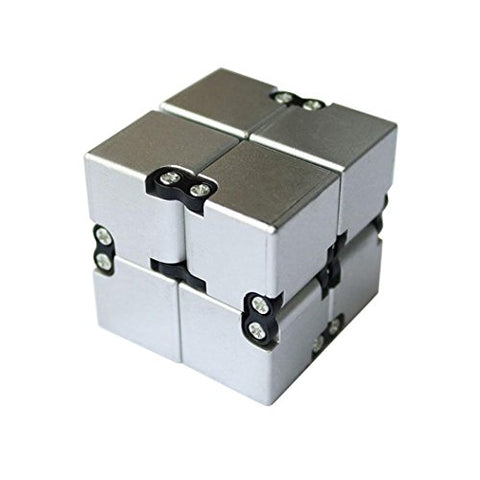 Creazy Luxury Edc Infinity Cube Mini For Stress Relief Fidget Anti Anxiety Stress Funny (Silver)