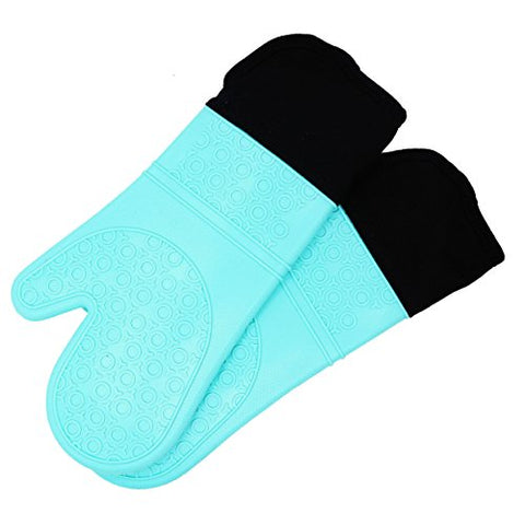 Silicone Oven Mitts With Quilted Cotton Lining - Professional Heat Resistant Potholder Kitchen Gloves - 1 Pair (Turquoise) - Homwe
