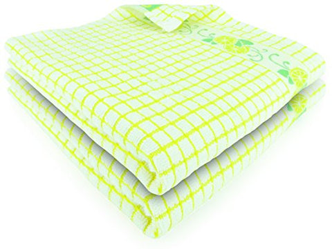 Fecido Fruity Kitchen Collection Dish Towels - Heavy Duty - Super Absorbent - 100% Cotton - The Best European Tea Towels With Fruit Design - Set Of Two, Yellow Lemon