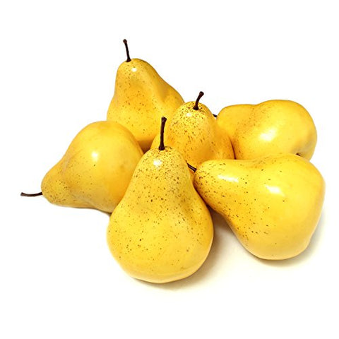 Aleko 6Afper Decorative Realistic Artificial Fruits - Package Of 6 Pears