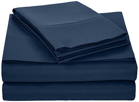 Amazonbasics Microfiber Sheet Set - Full, Navy Blue