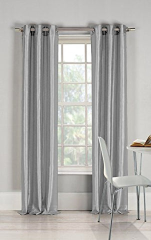 Gorgeous Home 1 Faux Silk Window Curtain Panel 55  By 84  Inch Solid Gray Silver 8 Bronze Grommets Mira