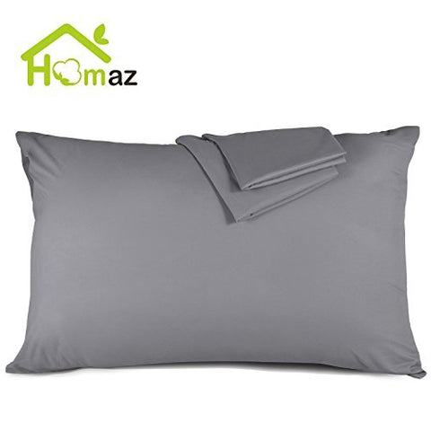 Homaz 2Pack Queen Size Pillowcases, 100% Brushed Microfiber Pillowcase Protector Set Ultra Soft Anti Wrinkle Hypoallergenic Bedding Sets Pillow Covers ( Gray )
